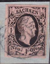 "=== AD Sachsen Mi. 4 I Nummerngitterstempel ""Dresden"", Kat. 80€ ==="