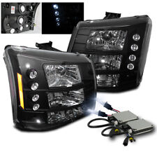 2003-2006 CHEVY SILVERADO AVALANCHE LED HEAD LIGHTS BLACK SET 2IN1+8000K HID KIT