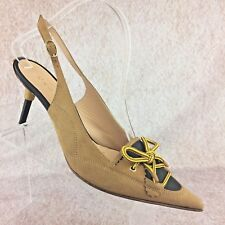 "CASADEI Italian 3"" Heels Boots Style Shoes Tan Suede Leather Slingback, Size 8.5"