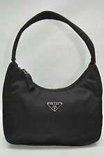 Prada Authentic Tessuto Black Nylon Small Zip Baguette Pouchette Purse