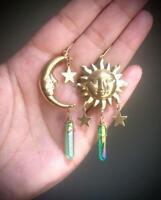 Raw Quartz Crystal Crescent Moon Earrings with Sun,celestial Sun Earrings