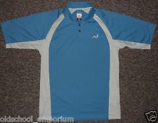 WOODWORM / MENS blue (+white) button-up POLO Shirt. Size: S