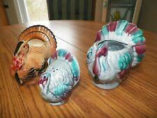 "3 Ceramic Turkeys 4""x4""Jam 4""x3""Creamer And 3""x3""Salt Shaker"