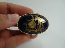 Vintage Small Pill Box Metal Gold-Tone Victorian Style Collectible