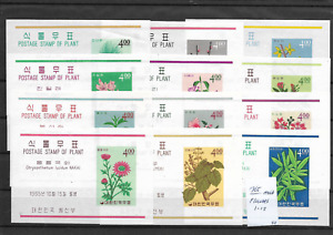 South Korea @ 12  Flowers   MS  Souvenir Sheets MVLH @Ko.12