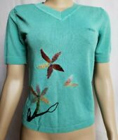 KENZO Paris FRANCE Green Short Sleeve Embroidered women's Sweater Blouse Sz M?