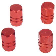 Pack of 4 Metallic Alloy Tyre Valve Dust Caps Red