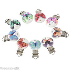 5PCs Butterfly Cute Pacifier Clips Round Wooden Colorful Infant Baby Soother