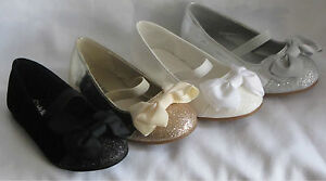 Girl Dress Flats w/Glitter and Bow (girona) Toddler Pageant Flower Girls Party