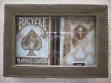 NEW Bicycle 2 Deck Dirty Playing Cards Leather Case Rare Vintage aqua tan