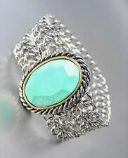 CHUNKY DESIGNER Turquoise Stone Silver Cable Medallion Chain Bracelet
