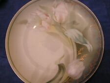 R & S GERMANY PLATE WITH WHITE TULIPS GOLD TRIM SUBTLE COLORS ANTIQUE OLD