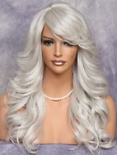 Heat OK Wavy Long full Wig Blonde mix Bangs Layered Hair piece 60 WBPO Grey