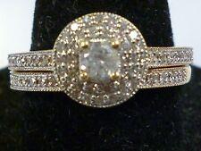 10k Yellow Gold Round Diamond Halo Bridal Wedding Engagement Ring Women's Size 9