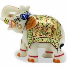 Handmade Marble Gold Painting Indian Elephant Statue Home Decor Figurine Gift