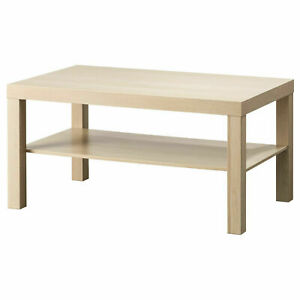 Side Table 90x55 CM White Black-Brown Birch Tree Coffee Table Living Room Table