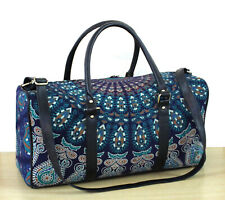 Mandala Blue Sports Duffle Bag Travel Bag With Shoulder Strap Indian Gym Handbag