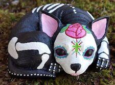 Day of the Dead Chihuahua Sugar Skull Concrete Garden Statue Unique Garden Decor