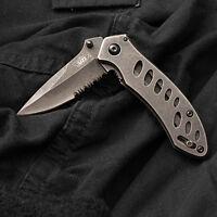 UZI Mini Stonewash Folding Spring Assist Knife partially serrated, stainless ...