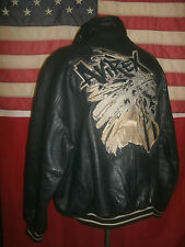 Superb  AVIREX  FIRST AMERICAN  Indian Bomber Sports Leather Jacket . Size 3XL