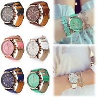 Women Fashion Quartz Analog Wrist Watch Geneva Leather Band Watch Girl Gift BA
