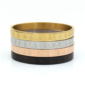 Fashion Titanium Steel Roman Numeral Buckle Cuff Bangle Bracelet For Men Jewelry