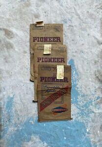 3 Vintage Pioneer Hybrid Corn Seed Bags Paper Sacks Farm Advertising
