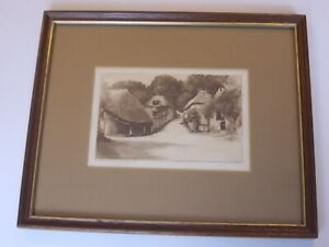 SUPERB C1890S DRY POINT ETCHING COCKINGTON FORGE DEVON BY C DICKENS AS87*2