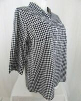 Croft & Barrow Size 1X Black Gingham 3/4 Tab Sleeve Button Front Top