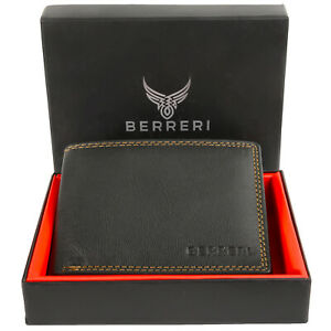 Mens 100% Genuine Leather High Quality Wallet RFID Safe Card Holder Gift Box UK