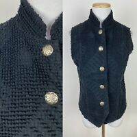 VTG 90s PAINTED PONY Faded Black Western Vest S Concho Buttons Nubby Texture
