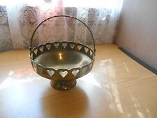 Brass Basket with Handle & Cut out Hearts