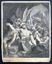 CHRIST IN THE SEPULCHRE SUPPORTED BY ANGELS 1668 Nicolas Pitau ANTIQUE ETCHING
