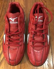 Mizuno Red & White Cleats Youth Size 5 9-SPIKE FRANCHISE MID G4  NIB