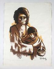 Felix Salgado, Signed Woman With Child Serigraph '77, Caribbean, Puerto Rico Art