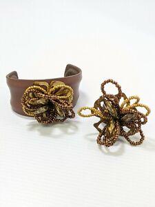 Artisan Brown Bronze Seed Bead Flower Open Cuff Bracelet Set Ring Size 9