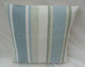 Laura Ashley Design Cushion Cover AWNING STRIPE Pistachio/Duck Egg Various Sizes