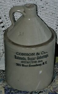 Antique Stoneware Conron & Co. Syrup Jug  Glazed  New York New York Broadway