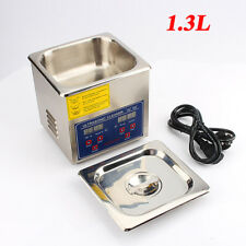 1.3L Ultrasonic Cleaner Timer Tank Heated Bath Jewellery Watches Cleaning Unit