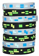 8 Mining Style 8-Bit Pixel Silicone Wristband, Bracelet, Great Party Favors!