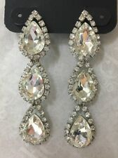Charming Charlie RSVP Tear Drop Rhinestone Dangle Earrings Silver