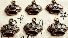 Crown 6 copper vintage style pendant charms jewellery supplies C404