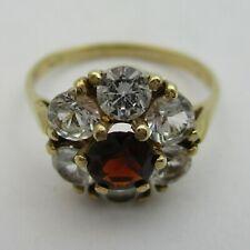 Pretty 9ct Gold Garnet & CZ Cluster Ring.  Size N