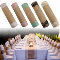 Rustic Burlap Natural Jute Table Runner With Lace For Wedding Anniversary Decors