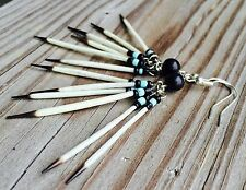 Beaded Onyx Porcupine Quill Earrings