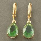 Fashion yellow Gold Filled Emerald Womens TearDrop lucky Ear Dangle Earrings