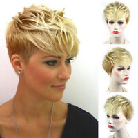 Ladies Short Full Wig Blonde Heat Resistant Synthetic Hair Cosplay Party Costume