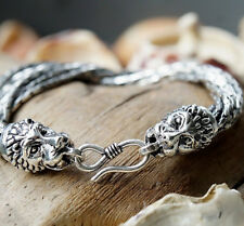 Silberarmband 19 cm Handarbeit Ø 7,5 mm Silber Löwenkopf Armband Gliederketten