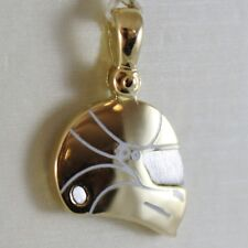 SOLID 18K WHITE & YELLOW MOTOR RACING HELMET, SATIN PENDANT CHARM MADE IN ITALY