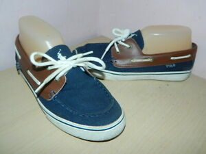Polo Ralph Lauren navy/brown canvas/leather lace up flat shoes loafers uk 5